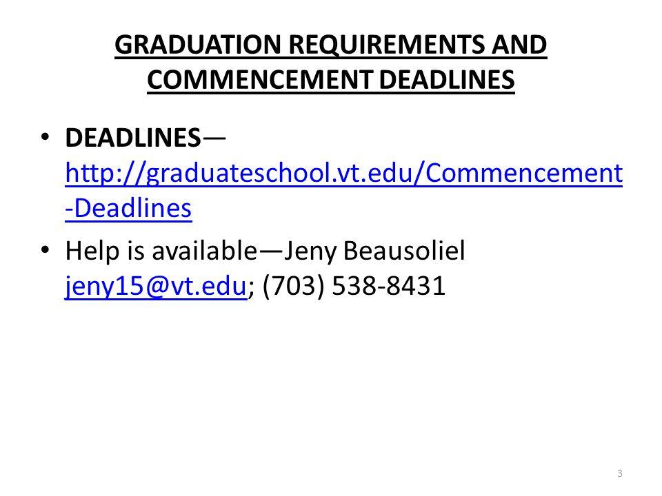 GRADUATION REQUIREMENTS AND COMMENCEMENT DEADLINES DEADLINES http://graduateschool.vt.edu/Commencement -Deadlines http://graduateschool.vt.edu/Commencement -Deadlines Help is availableJeny Beausoliel jeny15@vt.edu; (703) 538-8431 jeny15@vt.edu 3
