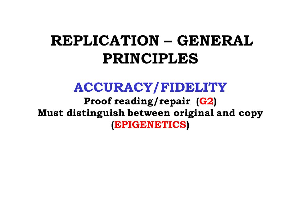 REPLICATION – GENERAL PRINCIPLES ACCURACY/FIDELITY Proof reading/repair (G2) Must distinguish between original and copy (EPIGENETICS)