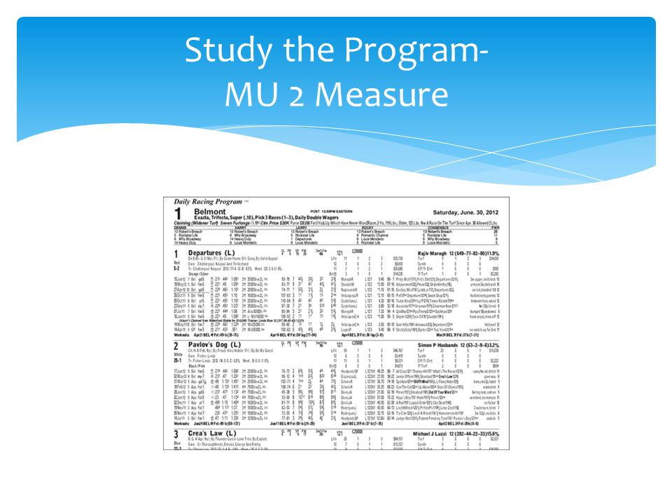 Study the Program- MU 2 Measure