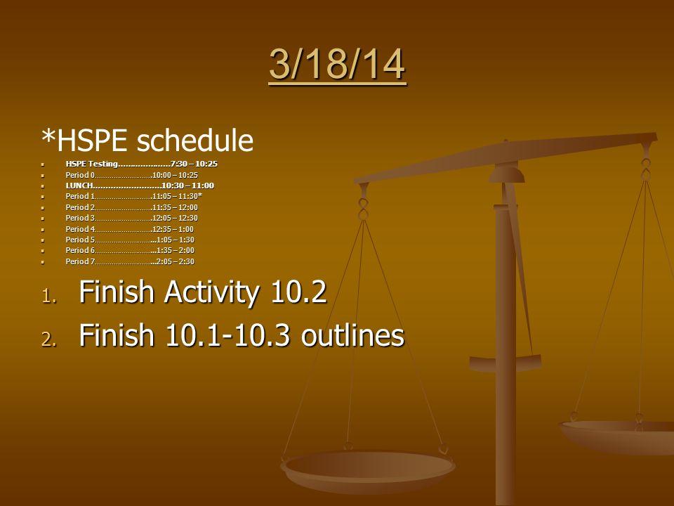 3/18/14 *HSPE schedule HSPE Testing…………………7:30 – 10:25 HSPE Testing…………………7:30 – 10:25 Period 0……………………….10:00 – 10:25 Period 0……………………….10:00 – 10:25 LUNCH………………………10:30 – 11:00 LUNCH………………………10:30 – 11:00 Period 1……………………….11:05 – 11:30* Period 1……………………….11:05 – 11:30* Period 2……………………….11:35 – 12:00 Period 2……………………….11:35 – 12:00 Period 3……………………….12:05 – 12:30 Period 3……………………….12:05 – 12:30 Period 4……………………….12:35 – 1:00 Period 4……………………….12:35 – 1:00 Period 5………………………...1:05 – 1:30 Period 5………………………...1:05 – 1:30 Period 6………………………...1:35 – 2:00 Period 6………………………...1:35 – 2:00 Period 7………………………...2:05 – 2:30 Period 7………………………...2:05 – 2:30 1.
