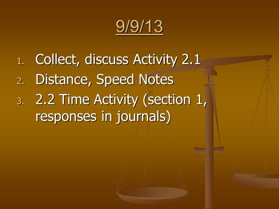 9/24/13 1. Finish Activity 3.1 2. Hand back quizzes, discuss 3. Begin Activity 3.2