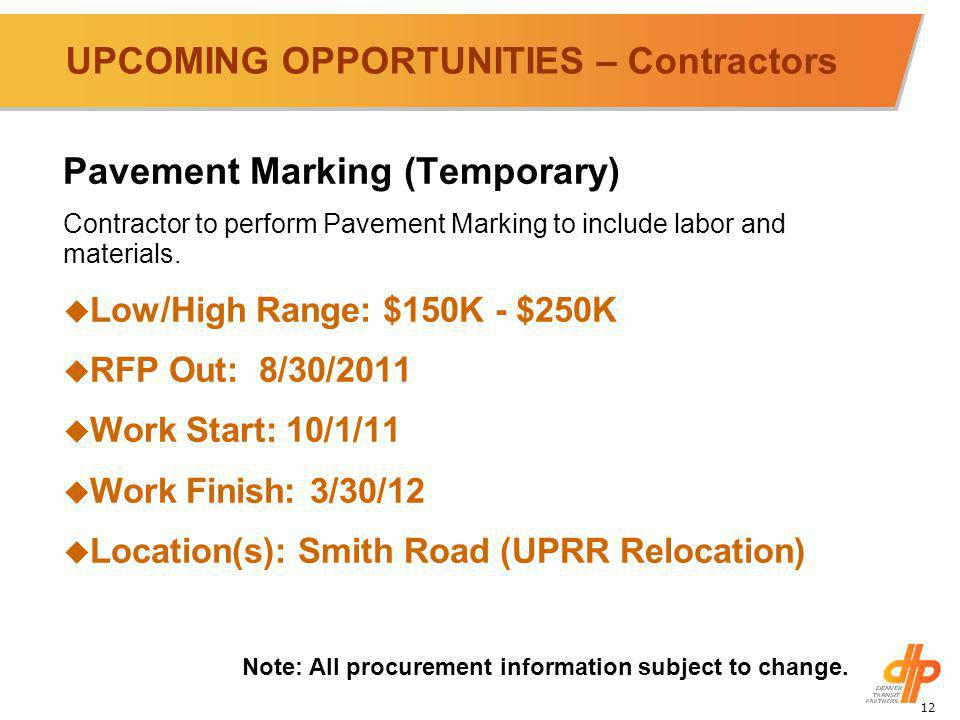 12 UPCOMING OPPORTUNITIES – Contractors Pavement Marking (Temporary) Contractor to perform Pavement Marking to include labor and materials.
