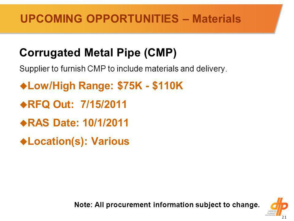 21 UPCOMING OPPORTUNITIES – Materials Corrugated Metal Pipe (CMP) Supplier to furnish CMP to include materials and delivery.