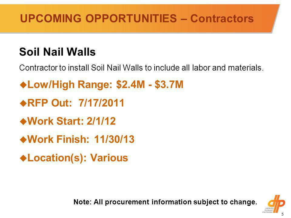 6 UPCOMING OPPORTUNITIES – Contractors Landscaping Contractor to perform Landscaping to include the purchase of all materials.