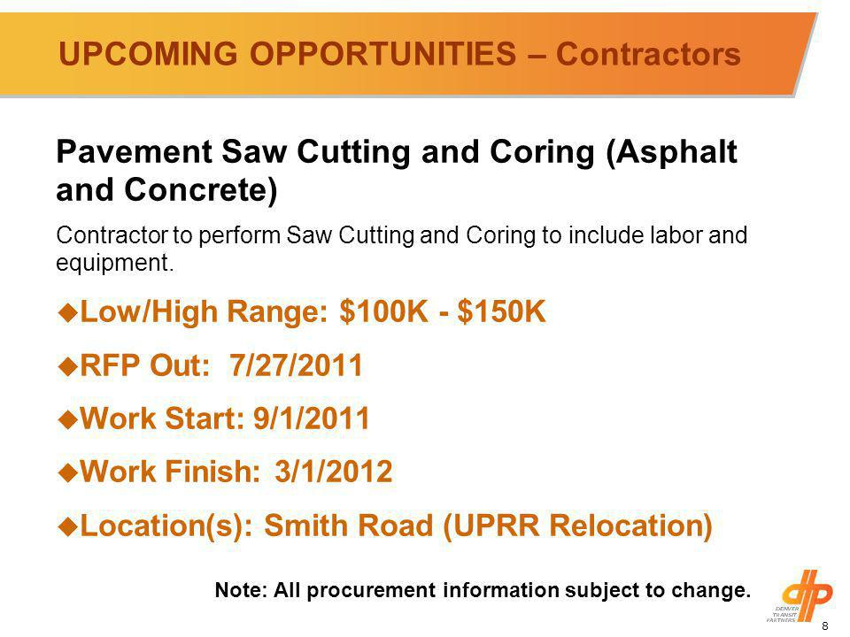 8 UPCOMING OPPORTUNITIES – Contractors Pavement Saw Cutting and Coring (Asphalt and Concrete) Contractor to perform Saw Cutting and Coring to include labor and equipment.