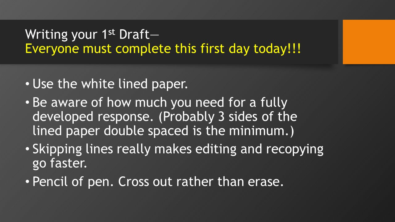 Writing your 1 st Draft Everyone must complete this first day today!!.
