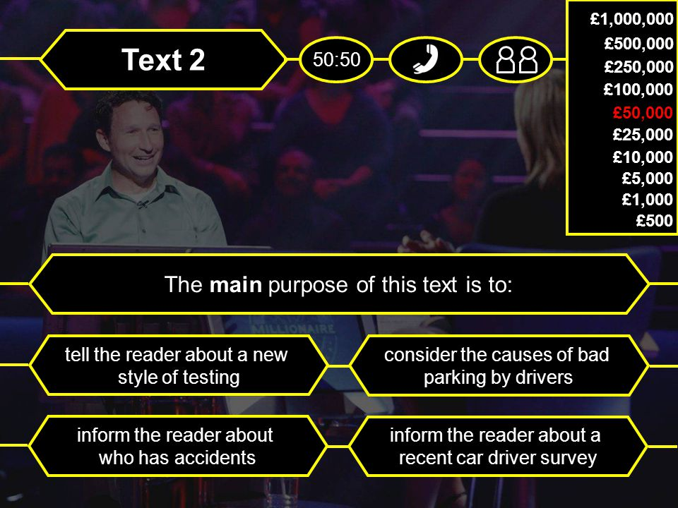 Text 2 The main purpose of this text is to: tell the reader about a new style of testing consider the causes of bad parking by drivers inform the reader about who has accidents inform the reader about a recent car driver survey £1,000,000 £500,000 £250,000 £100,000 £50,000 £25,000 £10,000 £5,000 £1,000 £500 50:50