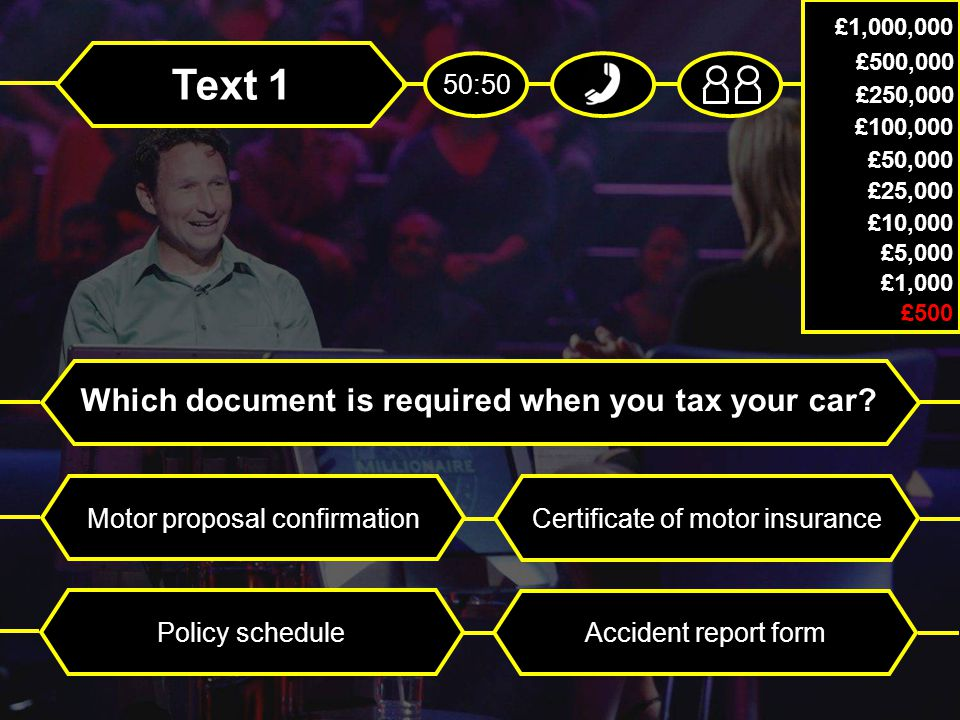 Text 1 Which document is required when you tax your car.