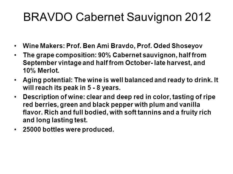 BRAVDO Cabernet Sauvignon 2012 Wine Makers: Prof. Ben Ami Bravdo, Prof.