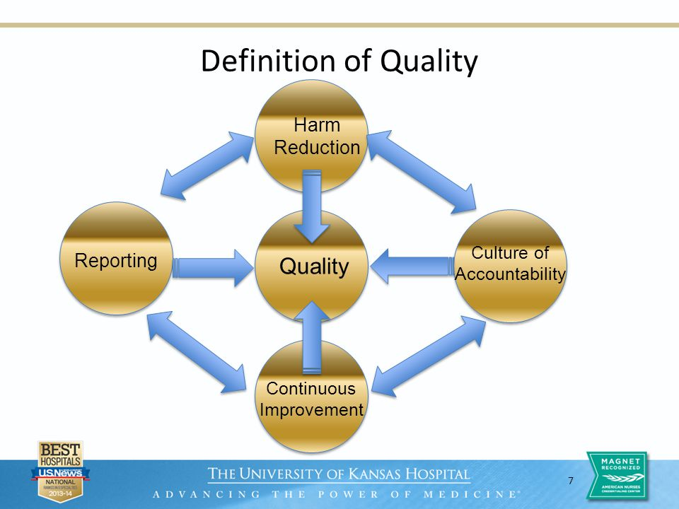 7 Definition of Quality Quality Harm Reduction Reporting Culture of Accountability Continuous Improvement