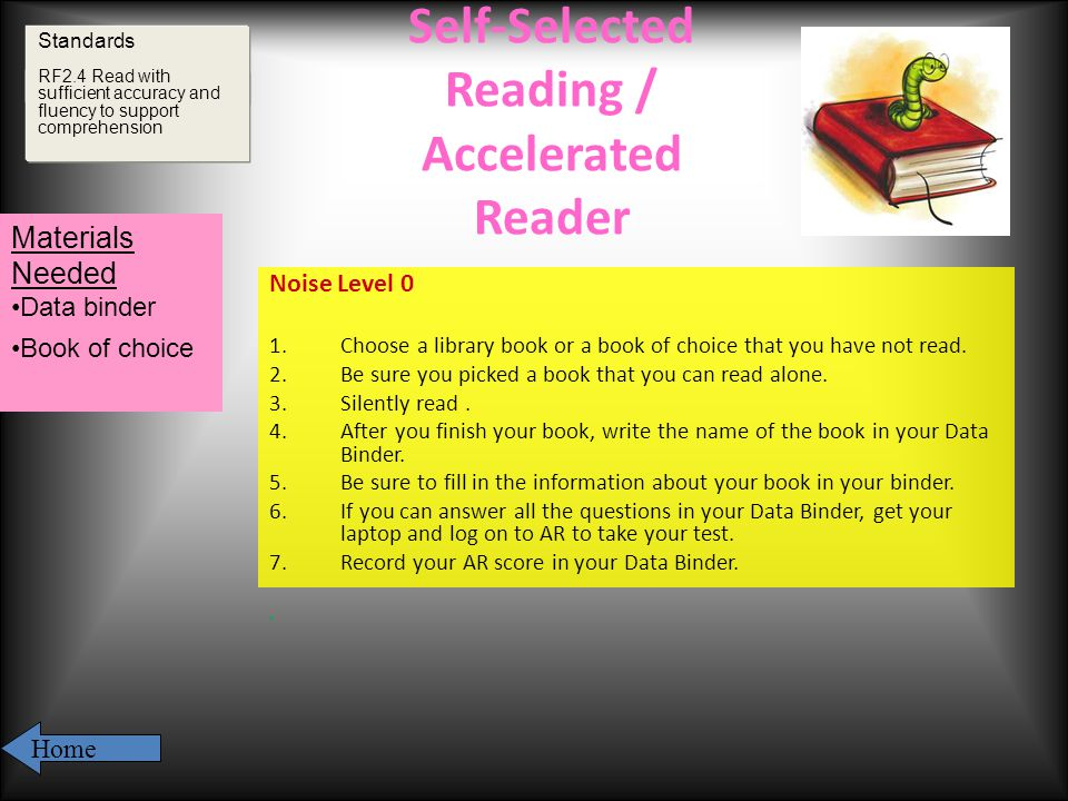 Self-Selected Reading / Accelerated Reader Noise Level 0 1.Choose a library book or a book of choice that you have not read.