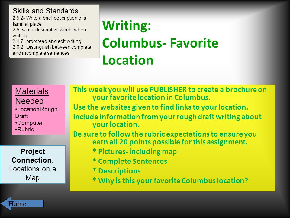 Writing: Columbus- Favorite Location This week you will use PUBLISHER to create a brochure on your favorite location in Columbus.
