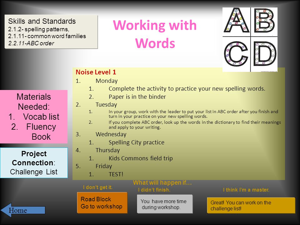 Working with Words Noise Level 1 1.Monday 1.Complete the activity to practice your new spelling words.