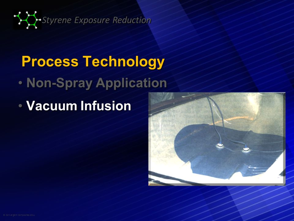 © Convergent Composites 2011 Styrene Exposure Reduction Process Technology Non-Spray Application Non-Spray Application Vacuum Infusion Vacuum Infusion