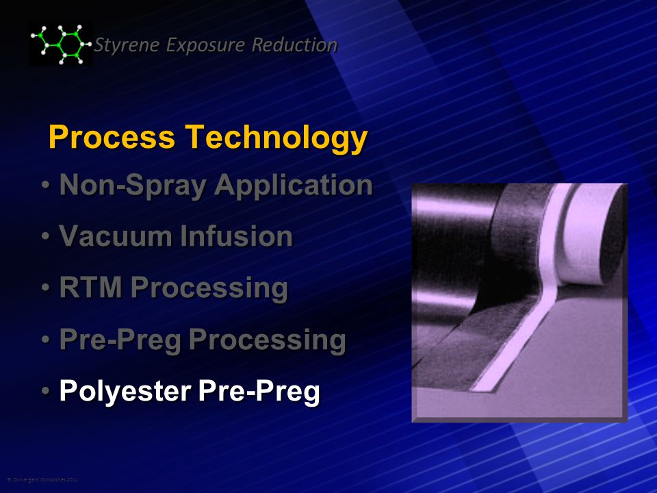 © Convergent Composites 2011 Styrene Exposure Reduction Process Technology Non-Spray Application Non-Spray Application Vacuum Infusion Vacuum Infusion RTM Processing RTM Processing Pre-Preg Processing Pre-Preg Processing Polyester Pre-Preg Polyester Pre-Preg