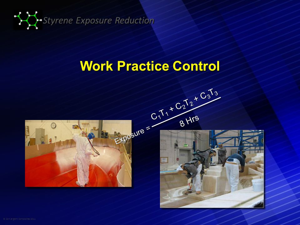 © Convergent Composites 2011 Styrene Exposure Reduction Work Practice Control C 1 T 1 + C 2 T 2 + C 3 T 3 8 Hrs Exposure =