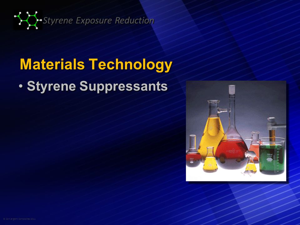 © Convergent Composites 2011 Styrene Exposure Reduction Materials Technology Styrene Suppressants Styrene Suppressants