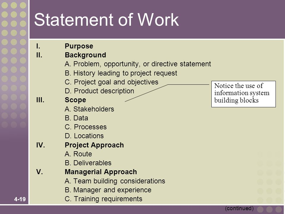 4-19 Statement of Work I.Purpose II.Background A. Problem, opportunity, or directive statement B. History leading to project request C. Project goal a