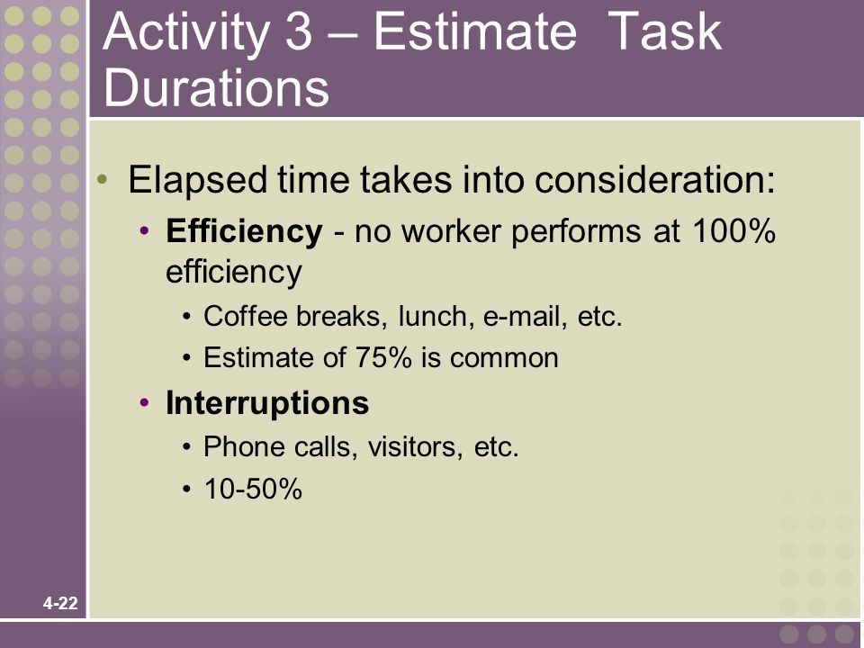 4-22 Activity 3 – Estimate Task Durations Elapsed time takes into consideration: Efficiency - no worker performs at 100% efficiency Coffee breaks, lun