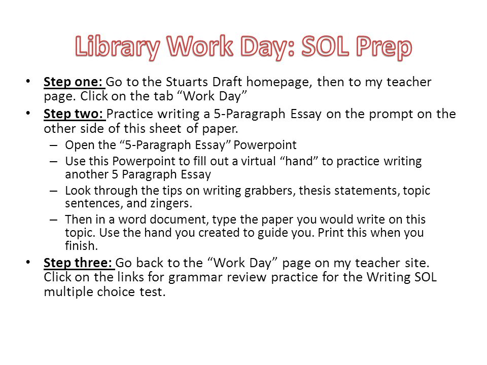 The 5-Paragraph Essay Format The Paragraphs: INTRO: Indent and start with a grabber (3 sentences) to interest your reader and end with your answer to the question in the format of a 3-point thesis.
