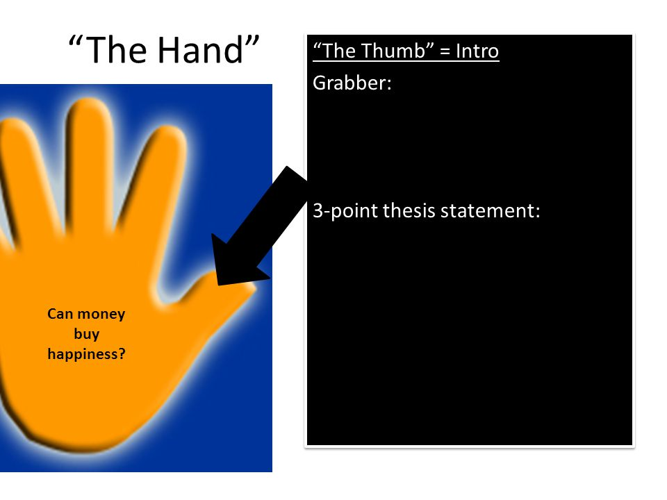 The Hand The Thumb = Intro Grabber: 3-point thesis statement: The Thumb = Intro Grabber: 3-point thesis statement: Can money buy happiness