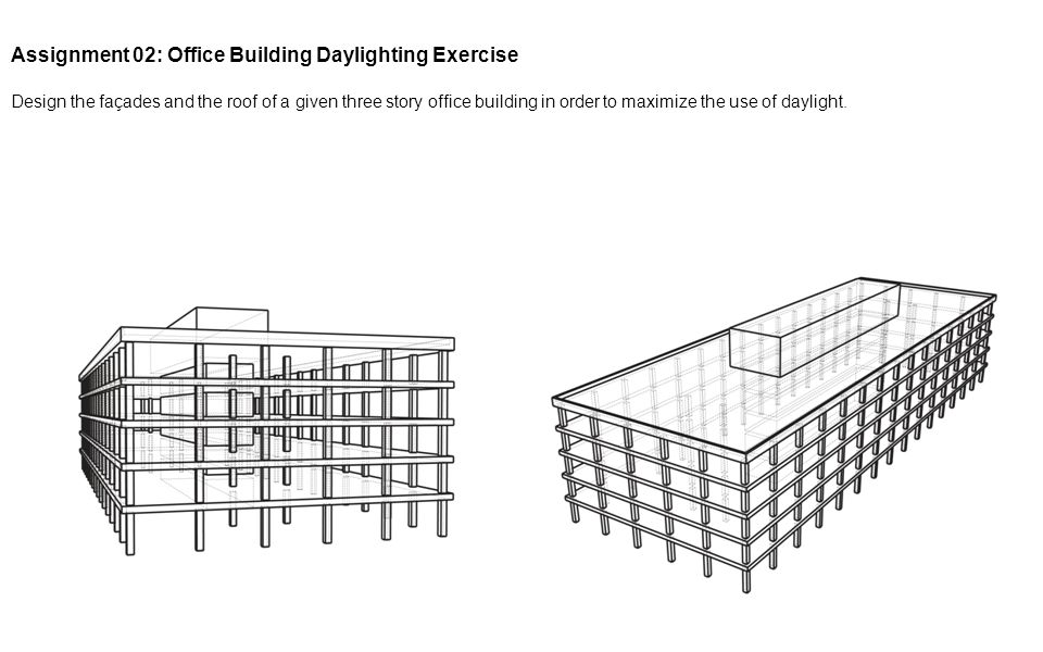 Assignment 02: Office Building Daylighting Exercise Design the façades and the roof of a given three story office building in order to maximize the us