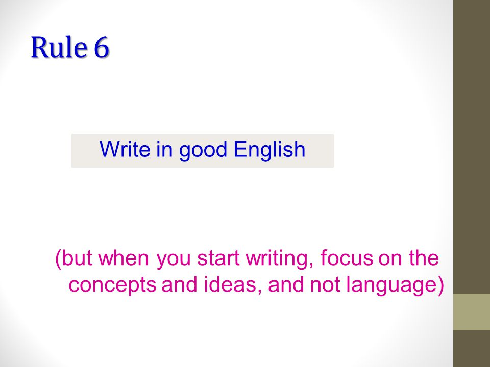 Rule 6 Write in good English (but when you start writing, focus on the concepts and ideas, and not language)