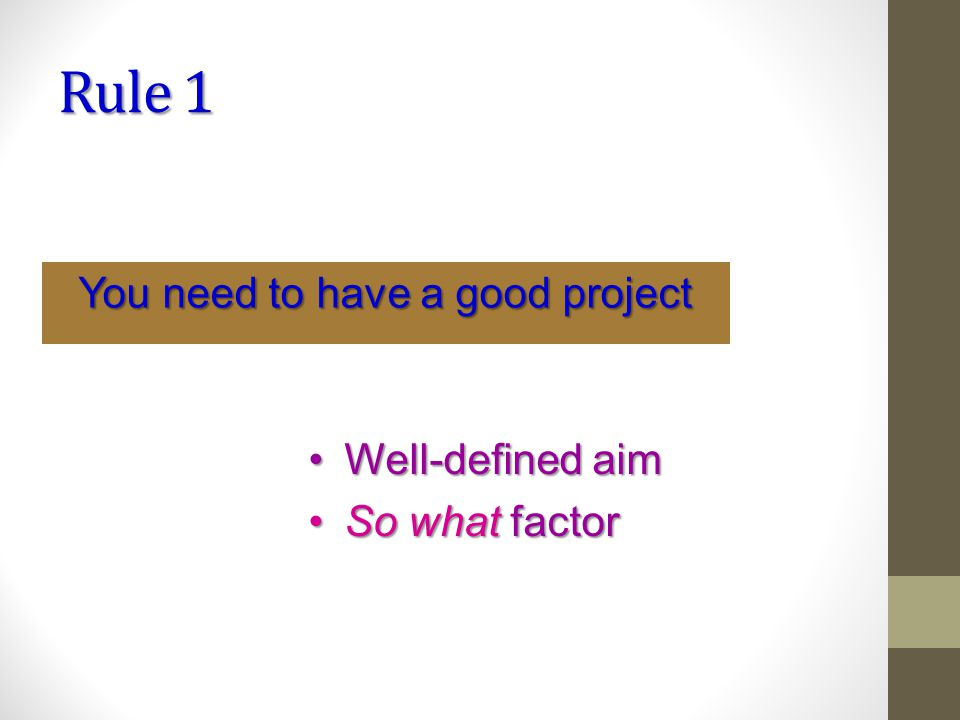 Rule 1 You need to have a good project Well-defined aimWell-defined aim So what factorSo what factor