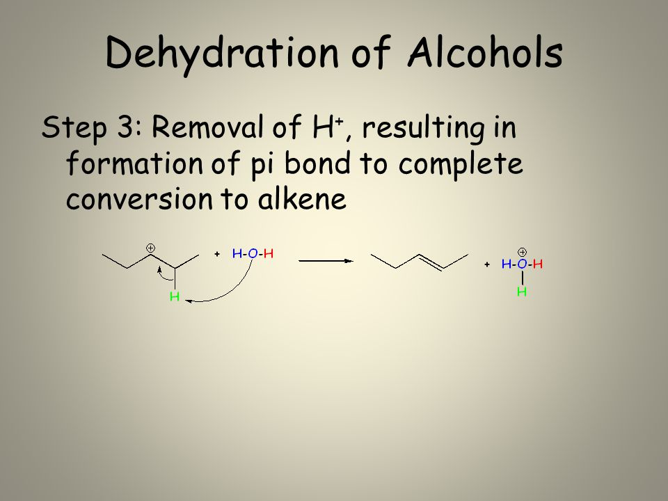 Dehydration of Alcohols Step 3: Removal of H +, resulting in formation of pi bond to complete conversion to alkene