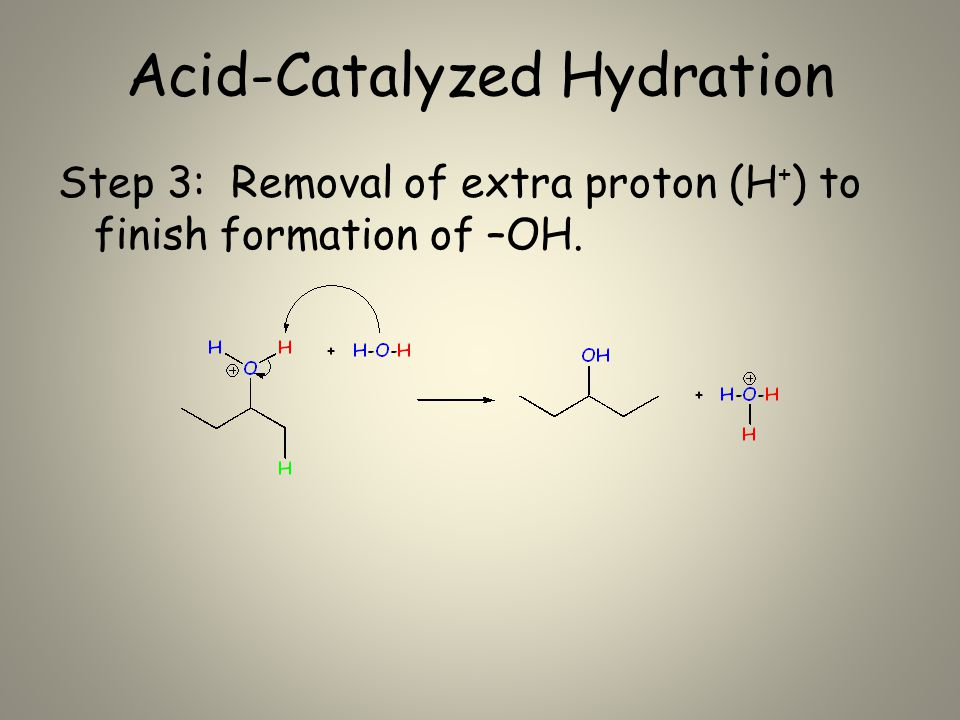 Acid-Catalyzed Hydration Step 3: Removal of extra proton (H + ) to finish formation of –OH.