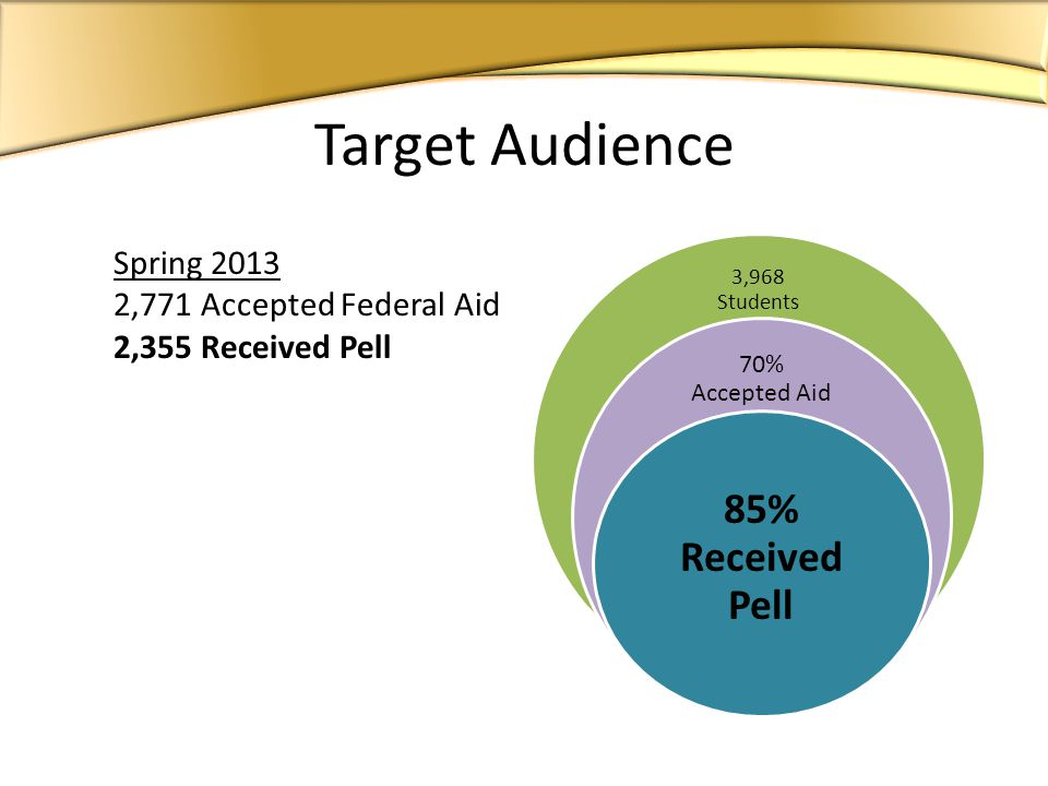 Spring ,771 Accepted Federal Aid 2,355 Received Pell 3,968 Students 70% Accepted Aid 85% Received Pell Target Audience