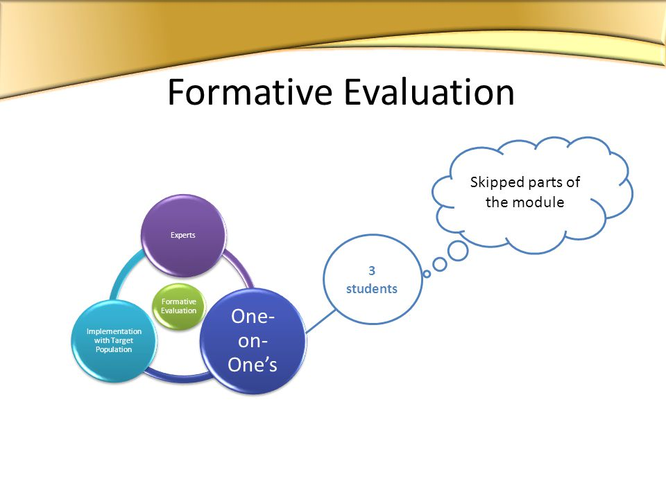 Formative Evaluation Experts One- on- Ones Implementation with Target Population Formative Evaluation Skipped parts of the module 3 students