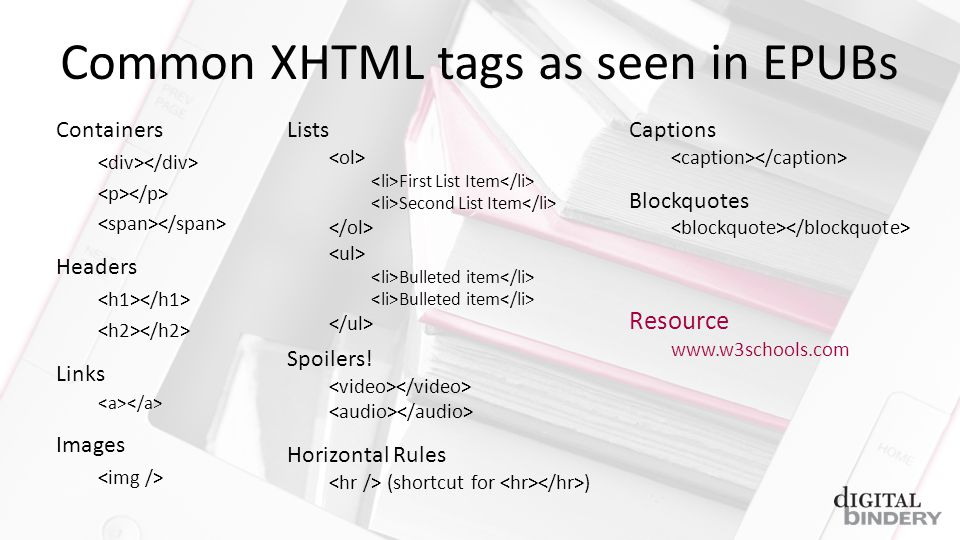 Containers Headers Links Images Common XHTML tags as seen in EPUBs Lists First List Item Second List Item Bulleted item Spoilers.