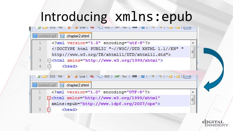 Introducing xmlns:epub