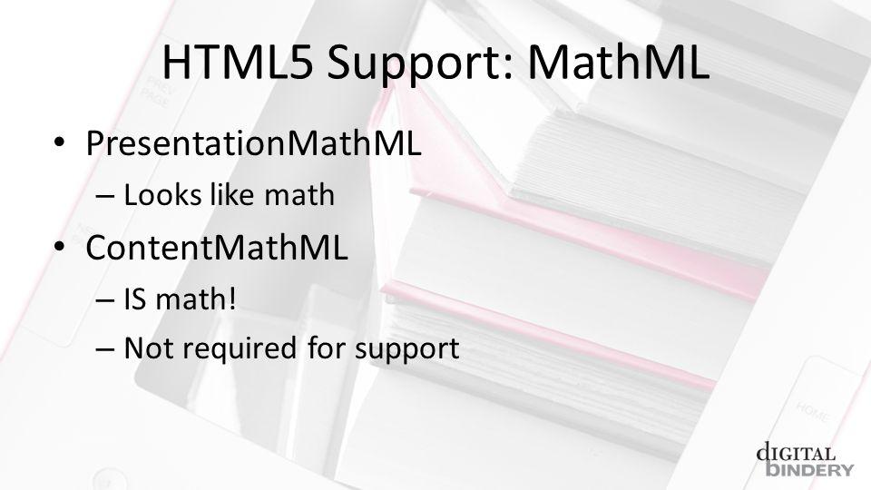 HTML5 Support: MathML PresentationMathML – Looks like math ContentMathML – IS math.