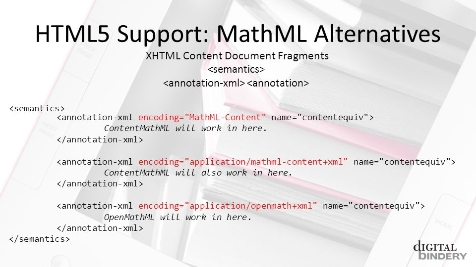 HTML5 Support: MathML Alternatives ContentMathML will work in here.