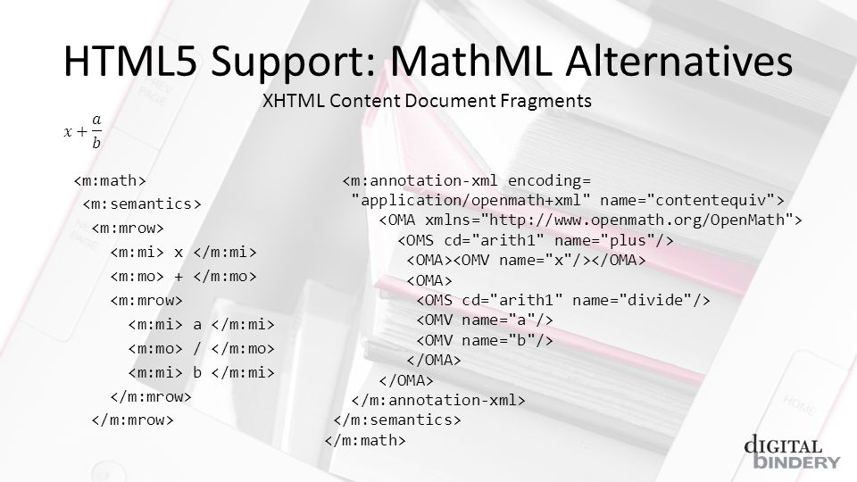 HTML5 Support: MathML Alternatives x + a / b <m:annotation-xml encoding= application/openmath+xml name= contentequiv > XHTML Content Document Fragments