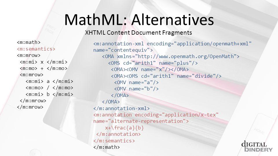 MathML: Alternatives x + a / b XHTML Content Document Fragments x+\frac{a}{b}