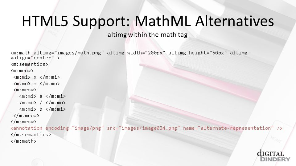 HTML5 Support: MathML Alternatives x + a / b altimg within the math tag
