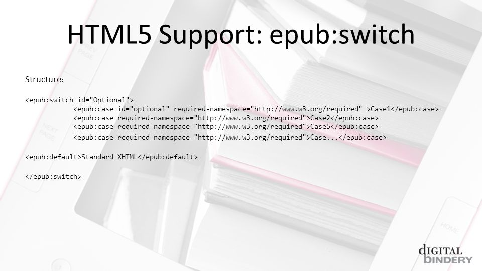 HTML5 Support: epub:switch Structure : Case1 Case2 Case5 Case... Standard XHTML