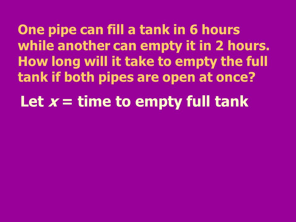 One pipe can fill a tank in 6 hours while another can empty it in 2 hours. How long will it take to empty the full tank if both pipes are open at once