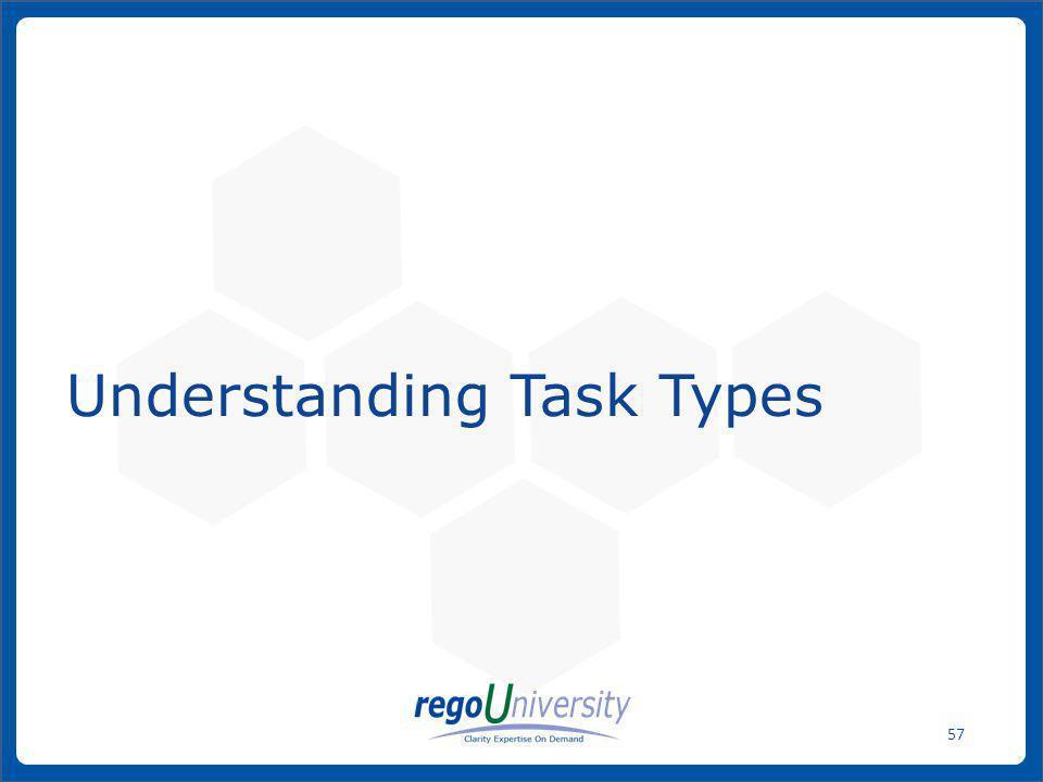 www.regoconsulting.comPhone: 1-888-813-0444 57 Understanding Task Types