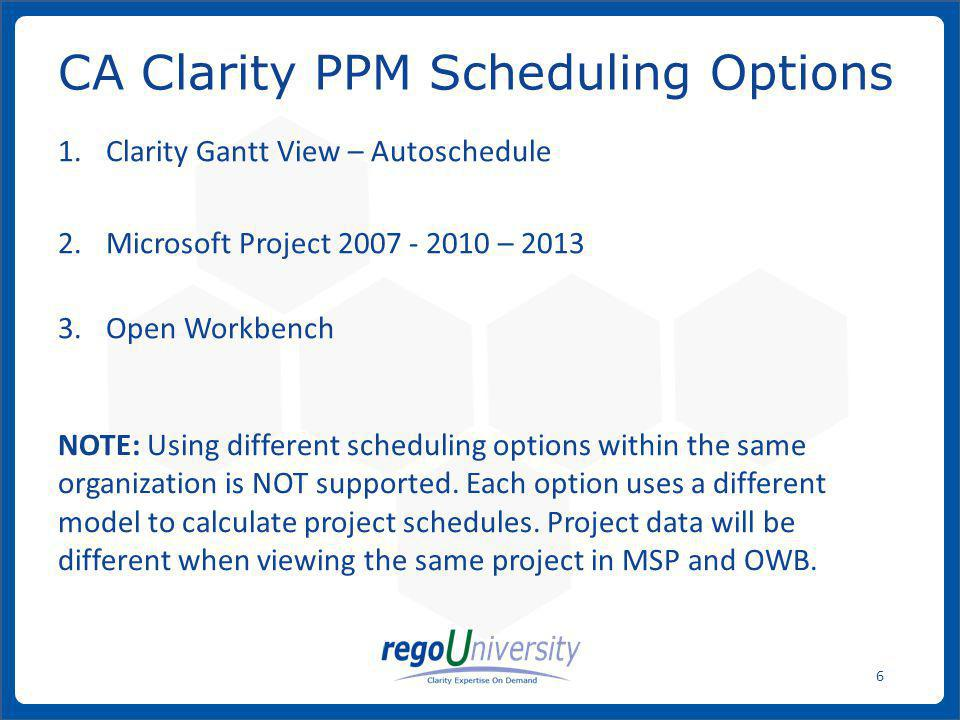 www.regoconsulting.comPhone: 1-888-813-0444 77 To save a project schedule that was opened from CA Clarity PPM to MSP, click on the Save button under the CA Clarity PPM Integration menu.