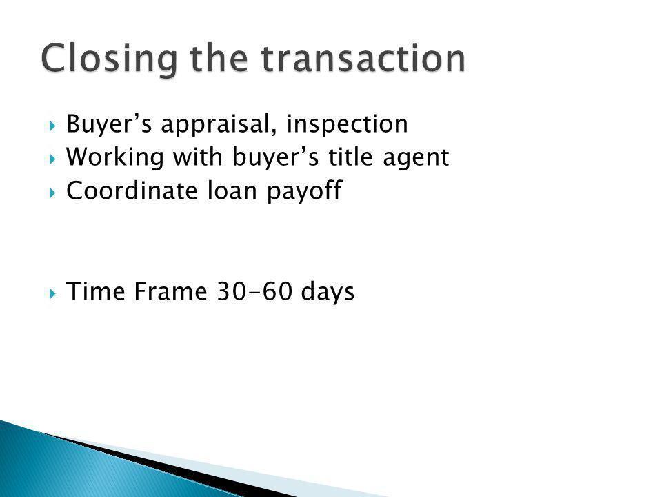 Buyers appraisal, inspection Working with buyers title agent Coordinate loan payoff Time Frame 30-60 days