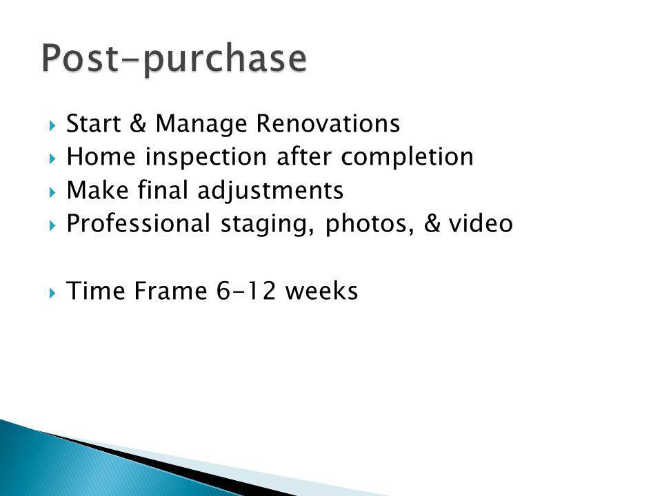 Start & Manage Renovations Home inspection after completion Make final adjustments Professional staging, photos, & video Time Frame 6-12 weeks