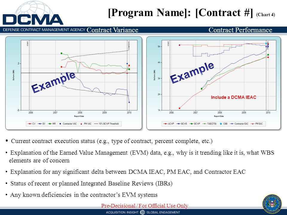 Contract VarianceContract Performance [Program Name]: [Contract #] (Chart 4) Pre-Decisional / For Official Use Only Current contract execution status (e.g., type of contract, percent complete, etc.) Explanation of the Earned Value Management (EVM) data, e.g., why is it trending like it is, what WBS elements are of concern Explanation for any significant delta between DCMA IEAC, PM EAC, and Contractor EAC Status of recent or planned Integrated Baseline Reviews (IBRs) Any known deficiencies in the contractors EVM systems Include a DCMA IEAC