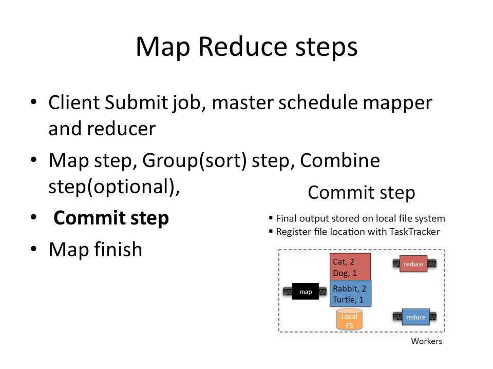 Map Reduce steps Client Submit job, master schedule mapper and reducer Map step, Group(sort) step, Combine step(optional), Commit step Map finish