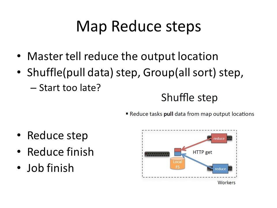 Map Reduce steps Master tell reduce the output location Shuffle(pull data) step, Group(all sort) step, – Start too late.