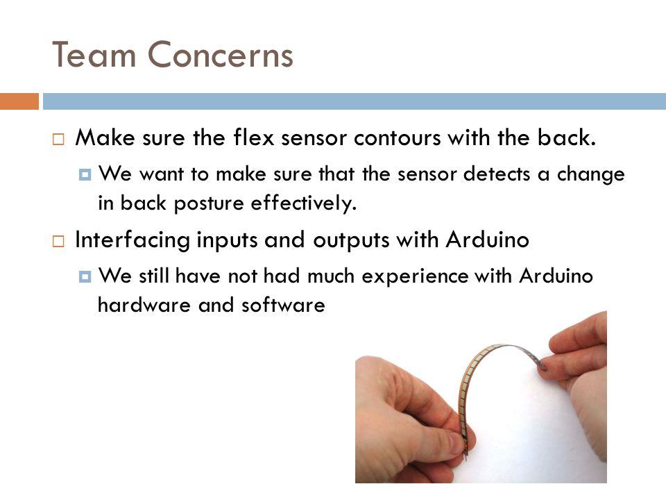 Team Concerns Make sure the flex sensor contours with the back.