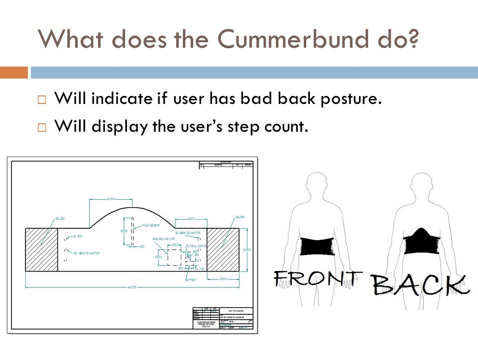 What does the Cummerbund do. Will indicate if user has bad back posture.